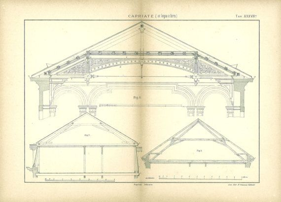 1800s architectural drawing a frame structure in wood and for Print architectural plans