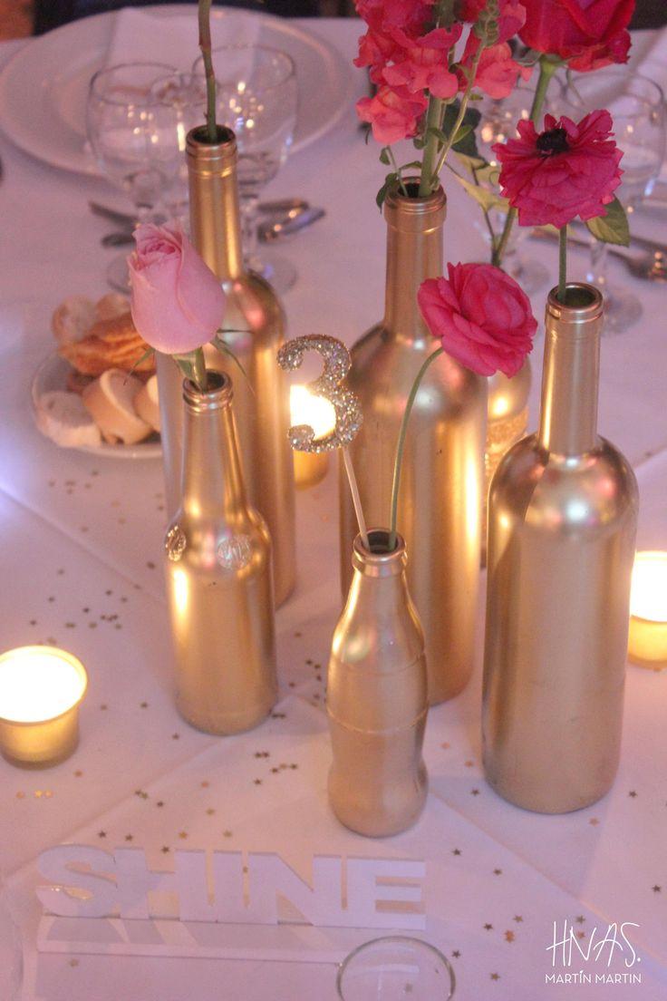 cumpleaños de 15, sweet fifteen, fiesta de quince, party, decoración, ambientación, decor, estrellas, stars, dorado, gold, chevron  centro de mesa, centerpiece,
