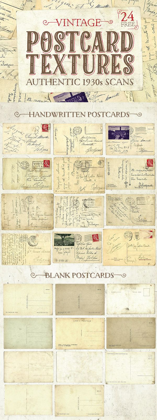 I recently inherited a box of my Grandfather's old possessions, which alongside his WW2 service books and a Great War Memorial Plaque for my great-great-uncle, also contains a number of postcards dated from the mid-1930s. As well as being treasured heirlooms, the aged paper textures of these postcards also make fantastic design resources! Download this …