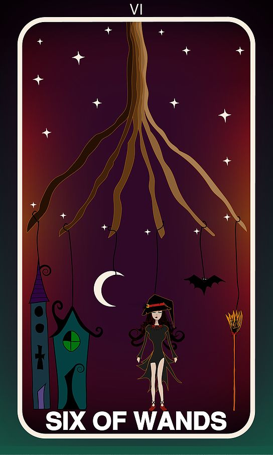 Tarot Card, Six of Wands  #wands #witch #gothic #illustration #tarotdeck #children #tales #city #adventure #magic