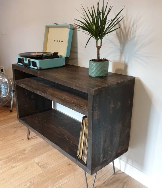 Record Player Stand Industrial Tv Stand Vinyl Storage Unit Hairpin Leg Wood Furniture Scaffold Board