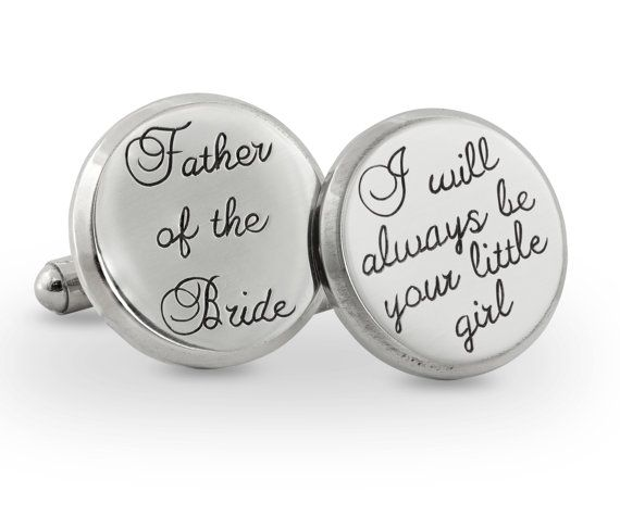 Father of the bride engraved cuff links by megangoldkamp. Great wedding gift idea!