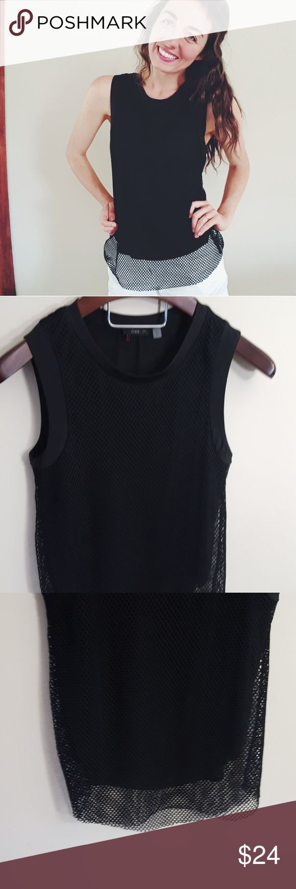 Dex | black mesh tank | small In excellent condition! Dex mesh black tank! Loose fit and lined. Not sheer. Size small. Used item, some signs of wear shown by pictures ❤ Bundle up! Offers always welcome:) Dex Tops