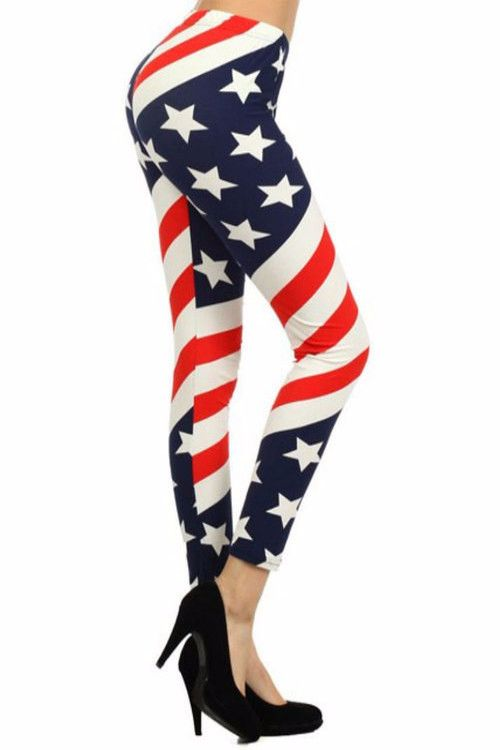 American Flag Leggings Flag Print / Assorted Size / 6 PCS