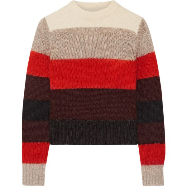 Rag & bone Britton striped knitted sweater found on Polyvore featuring tops, sweaters, red, striped crew neck sweater, loose fitting sweaters, crewneck sweaters, multi color striped sweater and thick sweaters