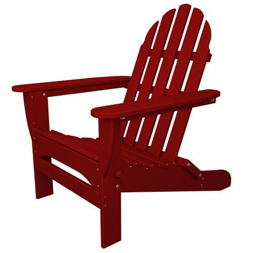 Classic Adirondack Sunset Red Chair Polywood Adirondack Chairs Patio Chairs Outdoor & Pati