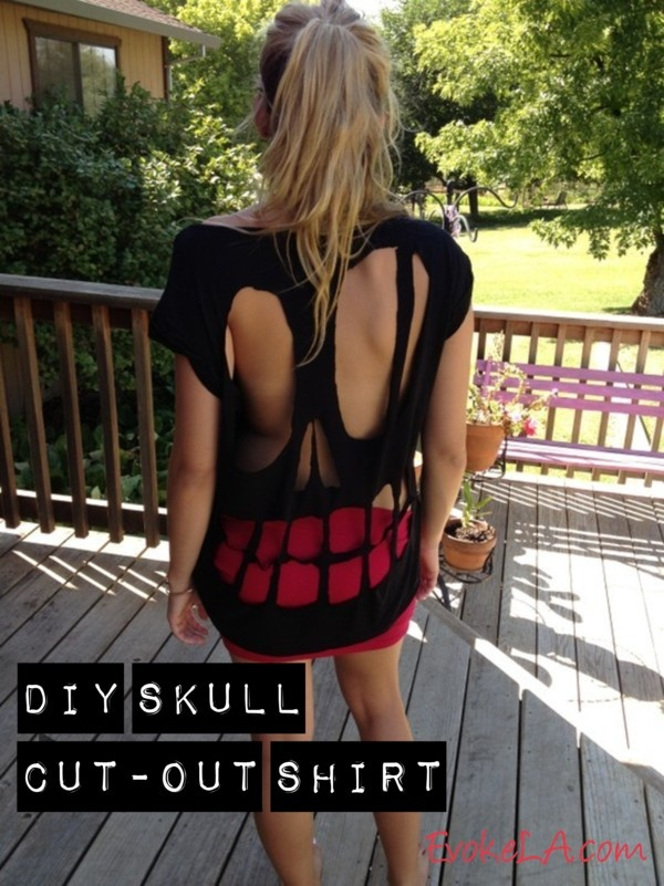 DIY Skull Cut-Out Shirt- made this and it looks SOOOO COOL :)