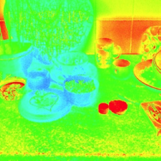 Magical Altar items glow in the dark like hot with heat on display next to ordinary kitchen stuff not glowing