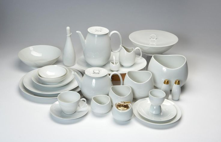 """Raymond Loewy's China set. This is from an auction website. Here's their information:    Artist Name: Raymond Loewy  Manufacturer: Rosenthal  Description: """"Continental China"""" set (approx. 110 pieces)  Circa: designed circa 1949  Medium: Porcelain  Signature?: Each stamped with Rosenthal and Loewy markings  Measurements: Various sizes  Edition:  Notes:  Literature/Provenance: Literature: Industrial Design: Raymond Loewy, Loewy, Overlook Press, 1979, pg 158-59"""