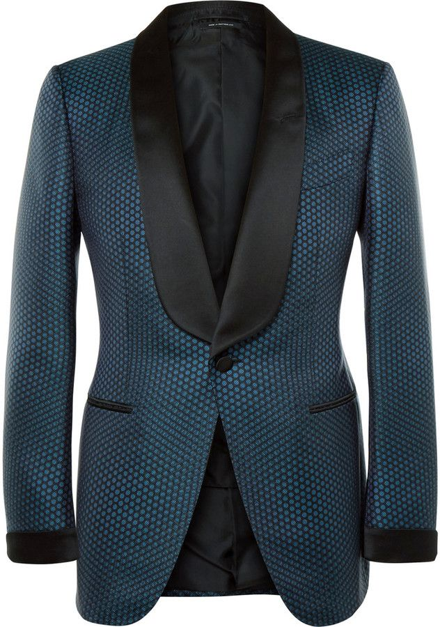 Tom Ford Blue Slim-Fit Silk and Cotton-Blend Jacquard Tuxedo Jacket ... 266b51349c8