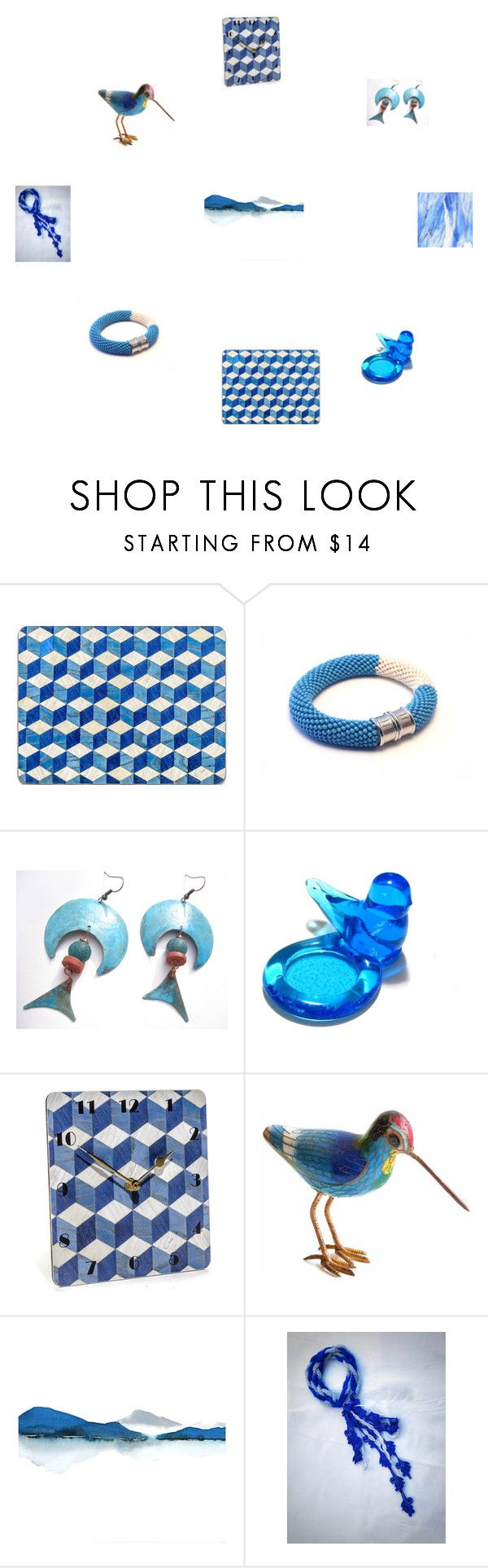 Beautiful Blues by einder on Polyvore featuring interior, interiors, interior design, home, home decor and interior decorating Geometric clock E Inder Designs