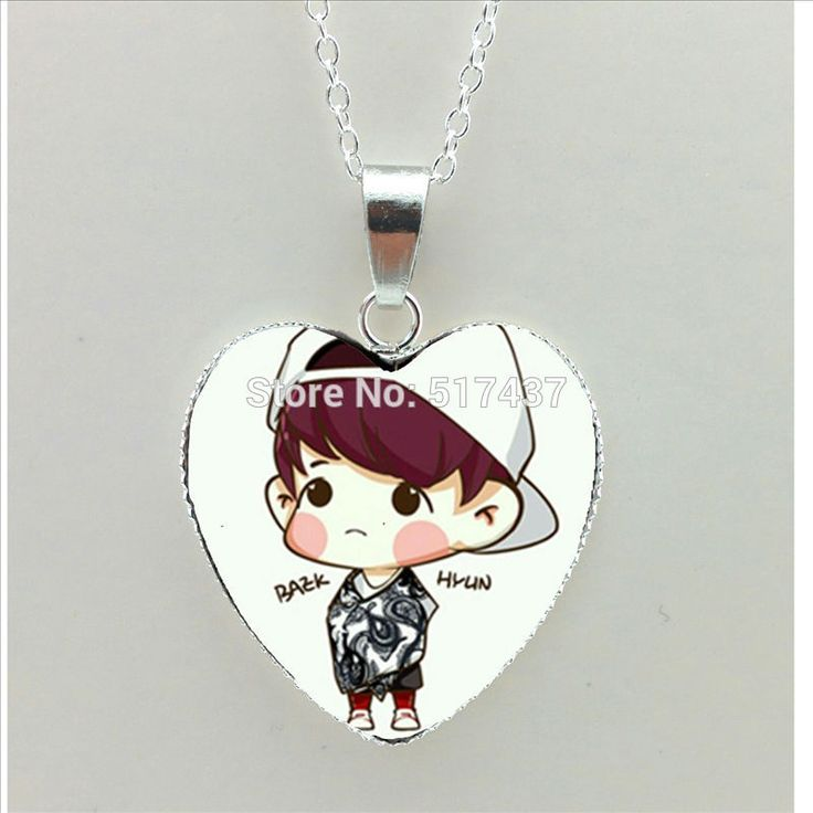 2016 New Kpop EXO Heart Necklace Cartoon Picture Jewelry EXO Pendant Silver Heart Shaped Necklaces