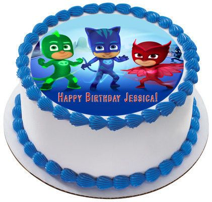 PJ MASKS 1 Edible Cake Topper & Cupcake Toppers – Edible Prints On Cake (EPoC)