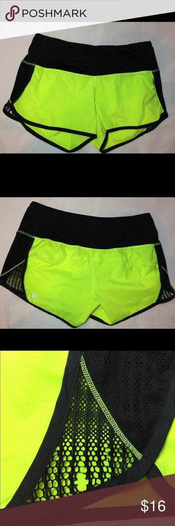 Lululemon Shorts -Size 8 Lululemon Shorts -Size 8- Neon and Black- Mesh accents on side some some wear. Imperfections are not very noticeable. Please see pics. Other than mesh imperfections, these shorts are still in great shape! Bundle for discounts! :) lululemon athletica Shorts Skorts