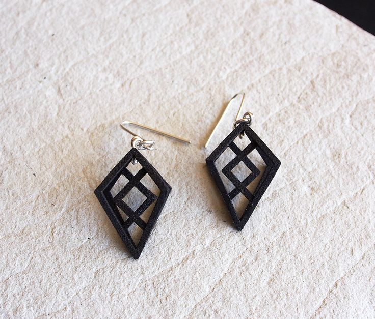 SKARD unique 3D printed oxidised black stainless steel earrings jewellery jewelry inguz viking rune drop dangle geometric bold womens gift by OLOVdesigns on Etsy