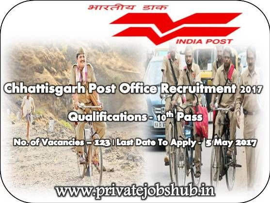 Jobs notification has been disclosed as Chhattisgarh Post Office Recruitment by Chhattisgarh Post Office. Organization wants to hire dedicated and hard working candidates for Post of Gramin Dak Sevaks. Total 123 vacancies are available for willing and interested candidates.
