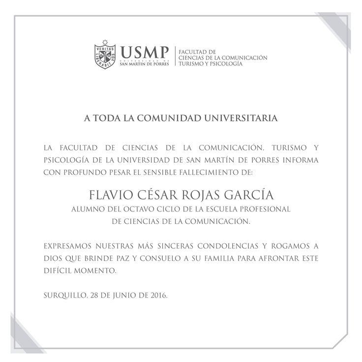#Condolencias | Lamentamos la pronta partida de nuestro alumno Flavio César Rojas García y extendemos nuestras sinceras condolencias a los familiares y amigos de nuestro alumno.