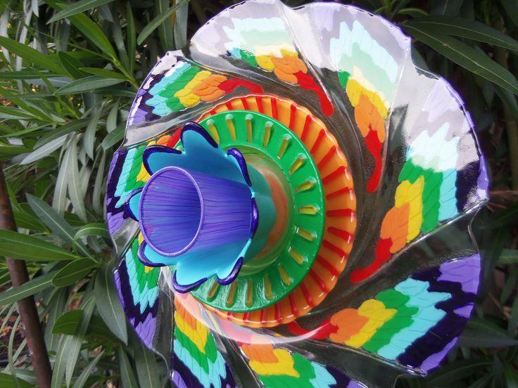 Glass Flower Garden Art Hand Painted In A Rainbow Of Color   Garden Decor    Suncatcher   Lawn Ornament   Garden Stake