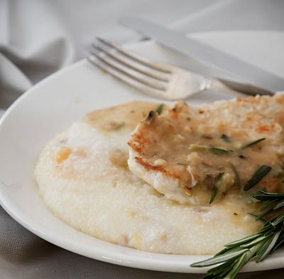 Pan Roasted Lemon Rosemary Chicken with Smoked Cheddar Grits - A Stack ...