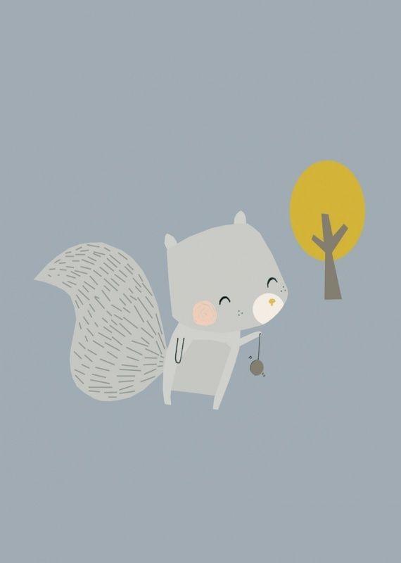 Kinderkaartje eekhoorn kinderkamer babykamer decoratie pastel kleuren bosdieren kaartje ansichtkaart postkaart