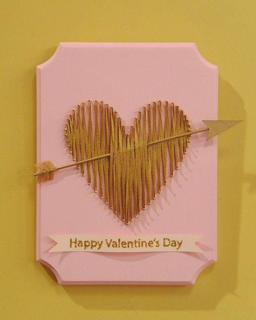 string-art heart craft; Martha Stewart