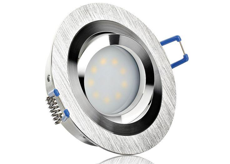 LED Einbaustrahler Set extra flach mit Marken Flat LED Spot LcLight 5 Watt Aluminium BiColor Rund Dimmbar 40 Watt Ersatz