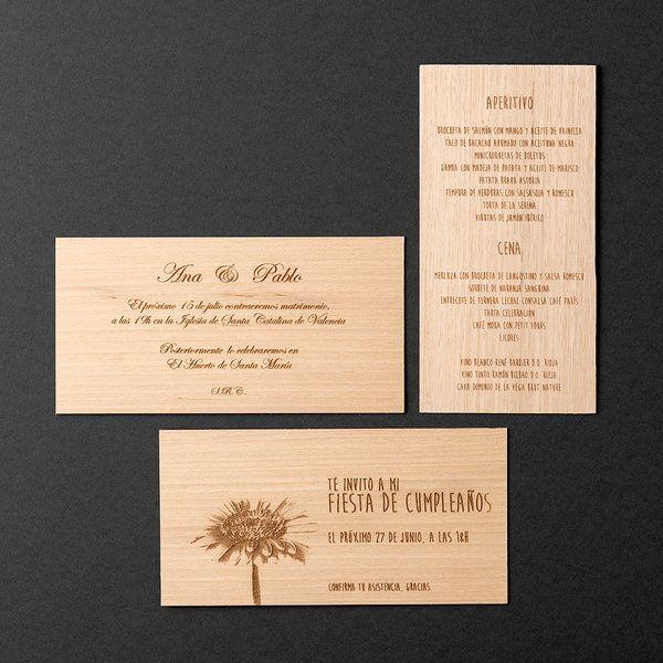 Invitaciones en madera 20x10x0,1cm