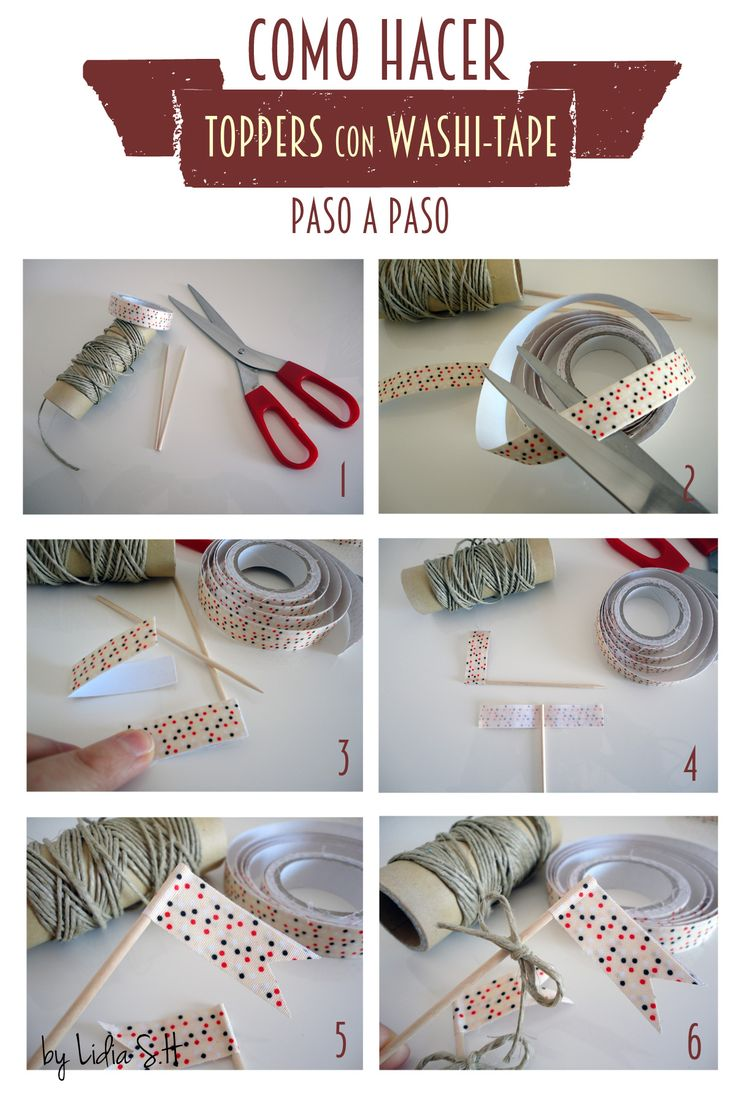 How to make Cupcakes toppers with Washi-tape
