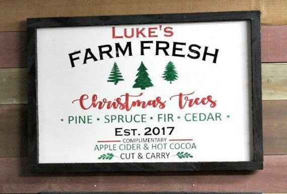 Custom Christmas Tree Farm Sign Personalized Rustic Holiday