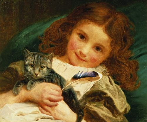 The Awakening Sophie Gengembre Anderson 1881 Private Collection- cats in paintings