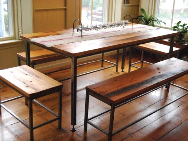 Custom dining rom table and benches made by Vermont Farm Table - Wood top with industrial metal legs