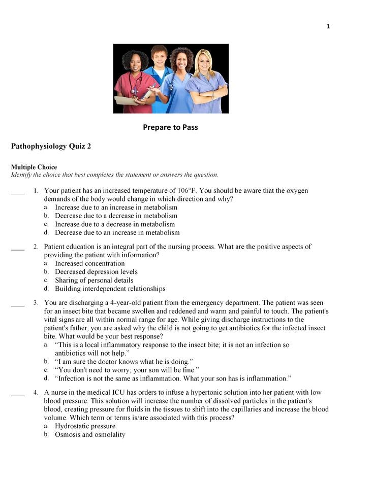 Pathophysiology Quiz 2 - Pg. 1