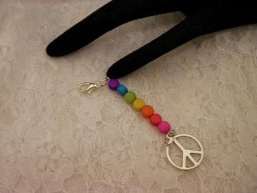 Colorful Peace Charm Zipper or Bag Pull by ShellysUniqueJewelry for $7.00