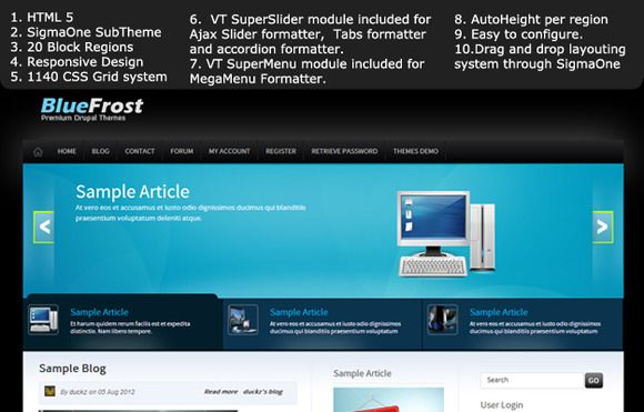 Check out Blue frost Premium Drupal 7 Theme by VicTheme on Creative Market