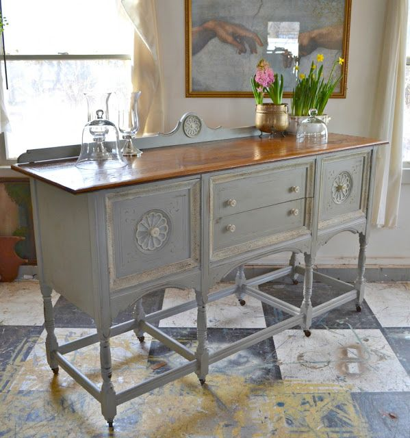 Heir and Space: An Antique Sideboard in Gray and White