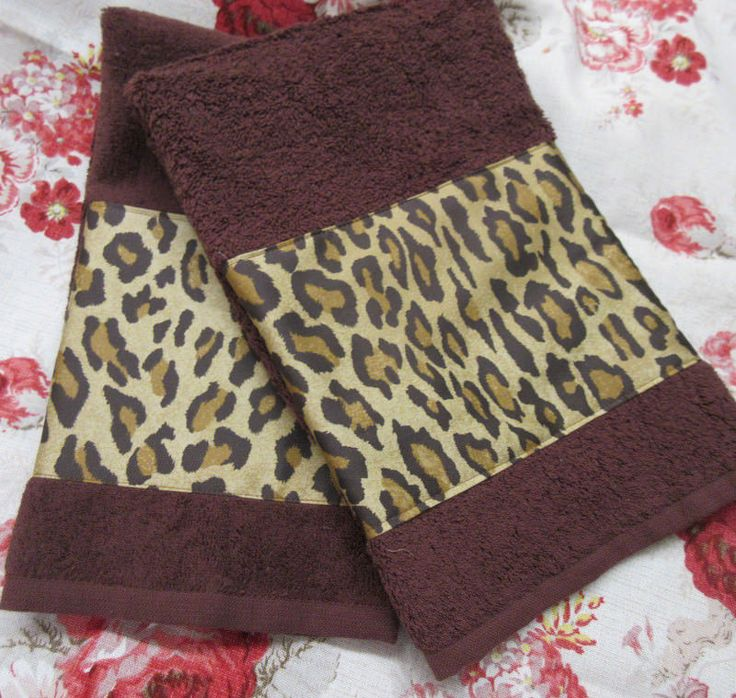 RALPH LAUREN FABRIC Decorated BROWN Hand Towels /2 VENETIAN COURT LEOPARD #LauraAshley
