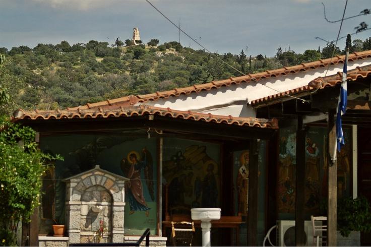 Philopappos Monument as seen from the  Metamorfosi tou Sotiros Church. (Walking Athens, Route 07 - Philopappos Hill)