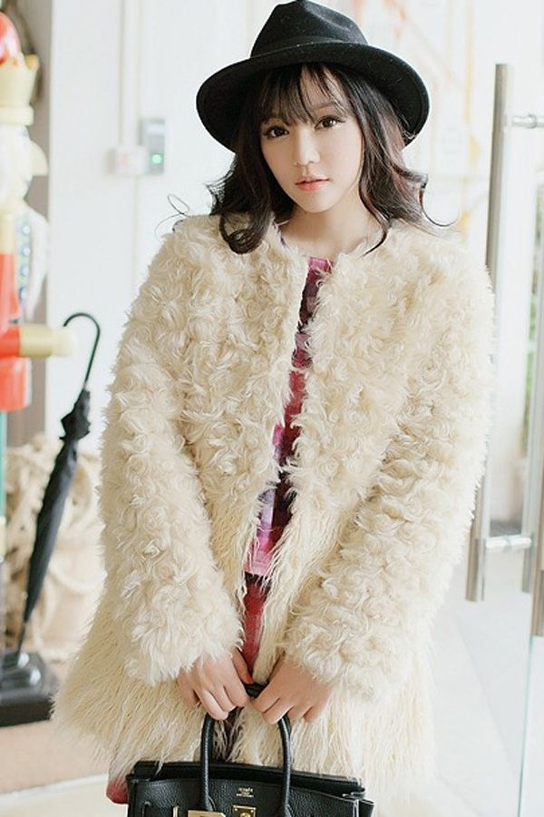 Paneled Faux Fur Coat