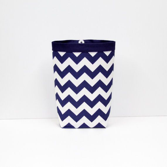 Car Trash Bag CHEVRON NAVY BLUE Riley Blake Women Men Litter