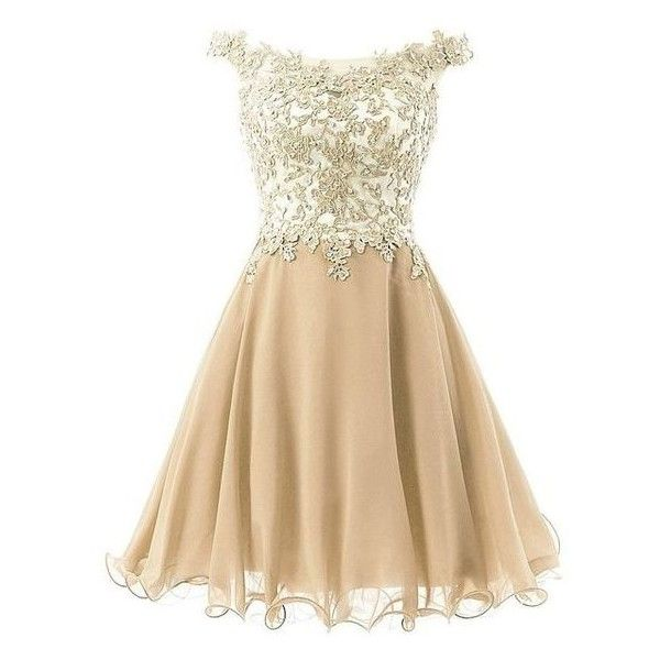 FNKS Women's Straps Lace Bodice Short Prom Gown Homecoming Party Dress ❤ liked on Polyvore featuring dresses, prom dresses, beige lace dress, beige dress, short prom dresses and short lace dress