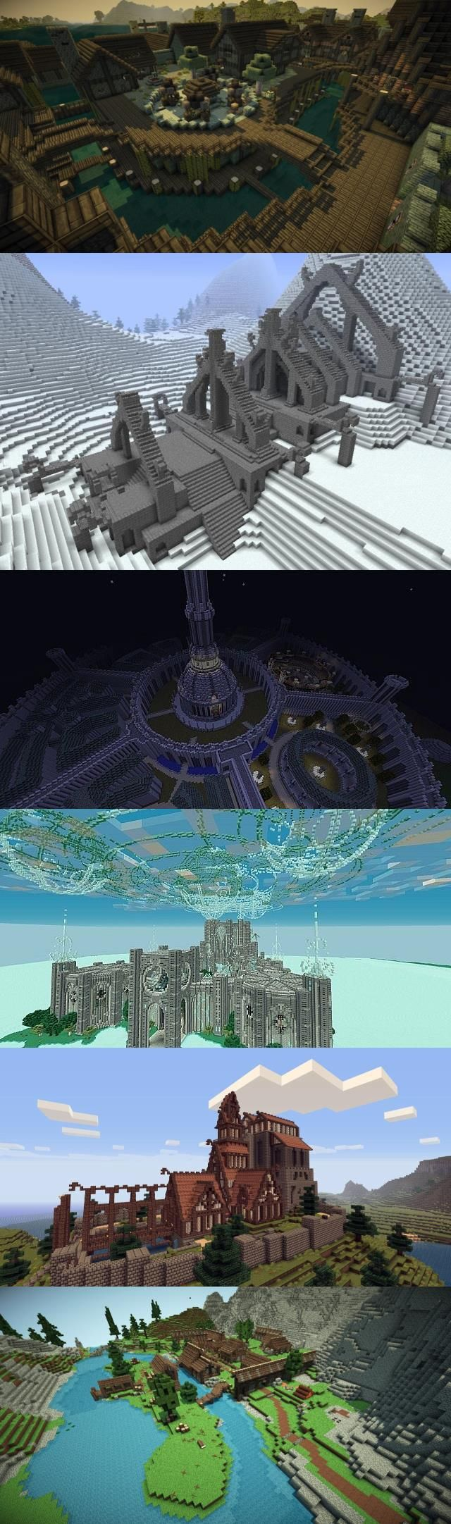 The Elder Scrolls in minecraft. From top to bottom: Riften, Volsung, The Imperial City from oblivion, The college of Winterhold, Dragonsreach, and Riverwood. This is beautiful