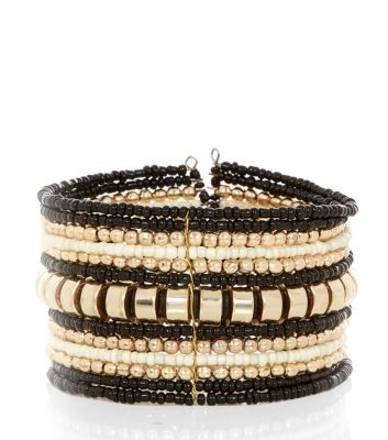 Black and Gold Beaded Stack Bracelet