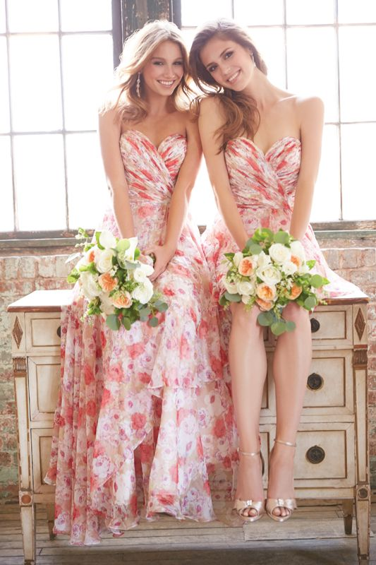 Allure Bridesmaid 1436 &1435 | These beautiful floral dresses come in two lengths and also in yellow, purple and blue. Brides of Melbourne | Beach Wedding Inspiration