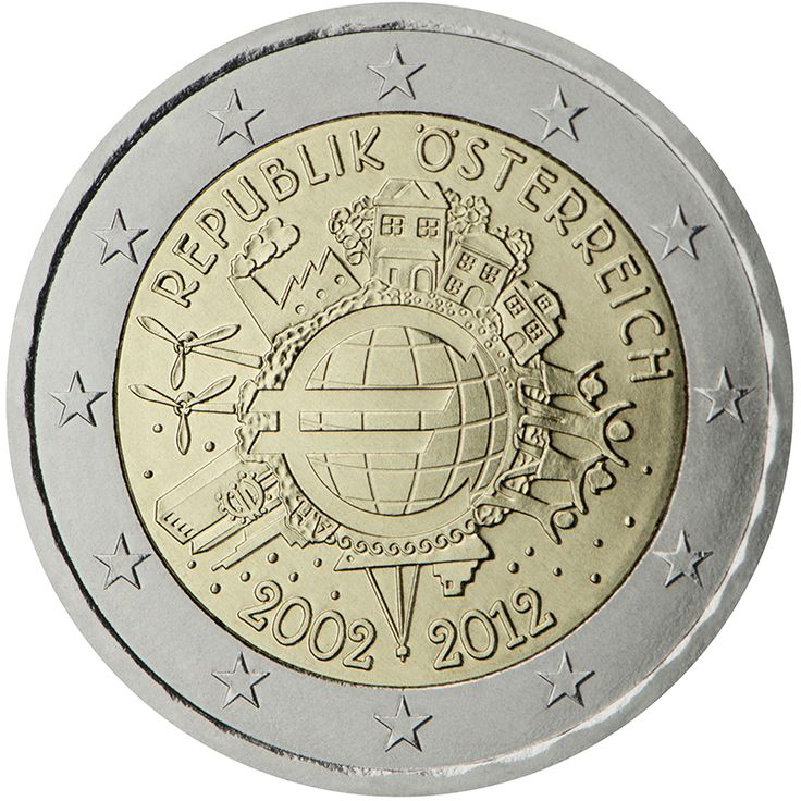 Monedas - X Aniversario del €uro - Moneda 2 euros Austria 2012