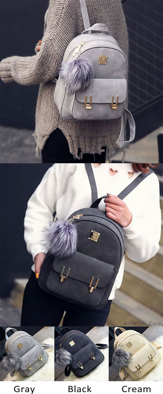 Fashion Frosted PU Zippered School Bag With Metal Lock Match Backpack is so cute ! #backpack #lock #bag #school #frosted #fashion
