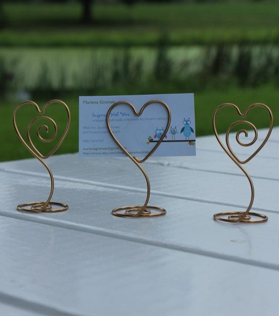 10 Gold or Silver Heart with Swirl Wire Picture Holder