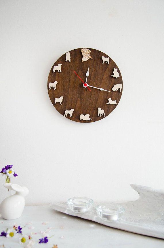 Pug portrait Clock Unique Wall Clock, gift for pet lovers, Dog clock Home Decor