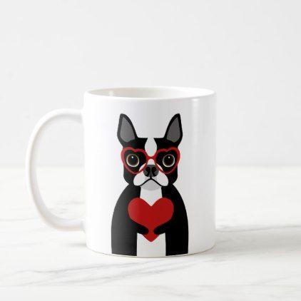 #cute - #Boston Terrier Holding Red Heart Coffee Mug
