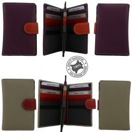 New Genuine Full Grain Leather Unisex Slim Wallet Credit Card Holder Multi Colored 104