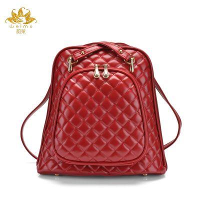 2016 New Arrival Europe Knitting PU leather Women Backpack Preppy Fashion  Rivet School Bags Six Color Shoulder dba1264f8b